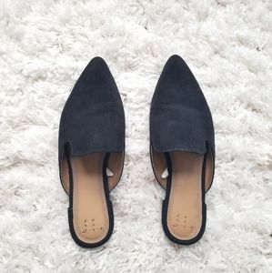 A New Day - Faux Suede Black Mules - Size 7.5